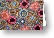 Aboriginal Art Painting Greeting Cards - Abstract Folk Art Greeting Card by Karla Gerard