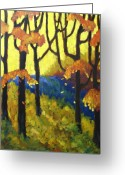 Artiste Greeting Cards - Abstract Forest Greeting Card by Richard T Pranke