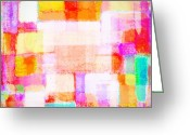 Bright Pastels Greeting Cards - Abstract Geometric Colorful Pattern Greeting Card by Setsiri Silapasuwanchai