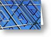 France Greeting Cards - Abstract Geometric Reflection Greeting Card by by Fabrice Geslin