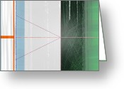Lines Greeting Cards - Abstract Green and Orange Greeting Card by Irina  March