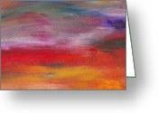 Comforting Greeting Cards - Abstract - Guash and Acrylic - Pleasant Dreams Greeting Card by Mike Savad