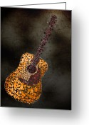Musical Greeting Cards - Abstract Guitar Greeting Card by Michael Tompsett