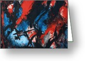 Yaroomba Abstraction Greeting Cards - Abstract in Red Blue Black Greeting Card by Joe Michelli