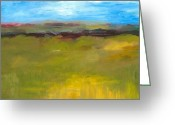 Green Field Painting Greeting Cards - Abstract Landscape - The Highway Series Greeting Card by Michelle Calkins