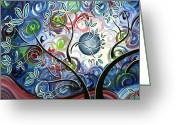 Contemporary Artist Greeting Cards - Abstract Landscape Art Original Colorful Painting CANT WAIT FOR SPRING I by MADART Greeting Card by Megan Duncanson