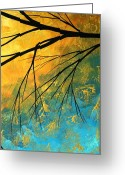 Red Leaves Painting Greeting Cards - Abstract Landscape Art PASSING BEAUTY 2 of 5 Greeting Card by Megan Duncanson