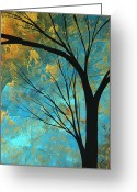 Red Leaves Painting Greeting Cards - Abstract Landscape Art PASSING BEAUTY 3 of 5 Greeting Card by Megan Duncanson
