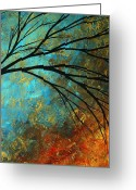 Red Leaves Painting Greeting Cards - Abstract Landscape Art PASSING BEAUTY 4 of 5 Greeting Card by Megan Duncanson