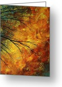 Red Leaves Painting Greeting Cards - Abstract Landscape Art PASSING BEAUTY 5 of 5 Greeting Card by Megan Duncanson