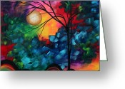 Whimsy Greeting Cards - Abstract Landscape Bold Colorful Painting Greeting Card by Megan Duncanson