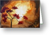 Red Leaves Painting Greeting Cards - Abstract Landscape Painting EMPTY NEST 12 by MADART Greeting Card by Megan Duncanson