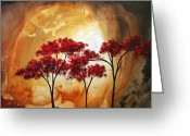 Red Leaves Painting Greeting Cards - Abstract Landscape Painting EMPTY NEST 2 by MADART Greeting Card by Megan Duncanson