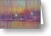 Street Lights Drawings Greeting Cards - Abstract Landscape Three Greeting Card by Donald Maier