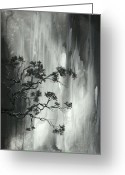 Black And White Canvas Greeting Cards - Abstract Landscape Zen Original Painting by MADART Greeting Card by Megan Duncanson