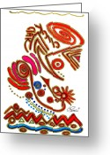 Instruments Drawings Greeting Cards - Abstract Musical Tribal Art Original Design CLICK CLAK by ROMI Greeting Card by Romi  Neilson
