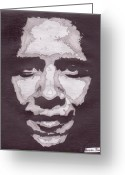 Barack Drawings Greeting Cards - Abstract Obama Greeting Card by Angel Roque