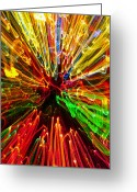 Horizontal Lines Greeting Cards - Abstract of Colorful Lights Greeting Card by David Buffington