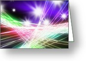 Neon Art Greeting Cards - Abstract of stage concert lighting Greeting Card by Setsiri Silapasuwanchai