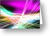 Neon Art Greeting Cards - Abstract of weaving line Greeting Card by Setsiri Silapasuwanchai