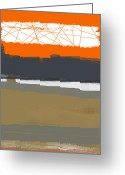 Expressive Greeting Cards - Abstract Orange 1 Greeting Card by Irina  March