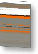 Lines Greeting Cards - Abstract Orange 2 Greeting Card by Irina  March