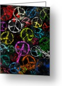 Abstract Collage Greeting Cards - Abstract Peace Signs Collage Greeting Card by David G Paul