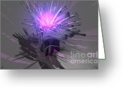 Cinema 4d Greeting Cards - Abstract Purple Greeting Card by Fred  Angrand