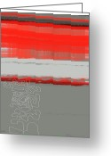 Lines Greeting Cards - Abstract Red 1 Greeting Card by Irina  March