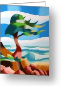 Cypress Tree Greeting Cards - Abstract Rough Futurist Cypress Tree Greeting Card by Mark Webster