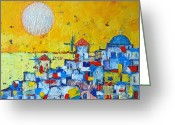 Old Town Painting Greeting Cards - Abstract Santorini - Oia Before Sunset Greeting Card by Ana Maria Edulescu