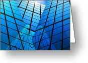 Reflection Greeting Cards - Abstract Skyscrapers Greeting Card by Setsiri Silapasuwanchai