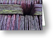 Split Greeting Cards - Abstract Slate Pile Greeting Card by Meirion Matthias