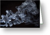 Cigarette Greeting Cards - Abstract smoke running horse Greeting Card by Setsiri Silapasuwanchai