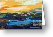 Ginette Fine Art Llc Ginette Callaway Greeting Cards - Abstract Sunset Landscape Waterways Greeting Card by Ginette Fine Art LLC Ginette Callaway