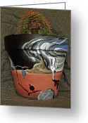 Surrealism Ceramics Greeting Cards - Abstract-Surreal cactus pot A Greeting Card by Ryan Demaree