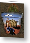 Surrealism Ceramics Greeting Cards - Abstract-Surreal cactus pot C Greeting Card by Ryan Demaree
