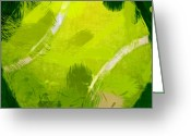 Balls Digital Art Greeting Cards - Abstract Tennis Ball Greeting Card by David G Paul