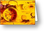 Alarm Greeting Cards - Abstract time Greeting Card by Garry Gay