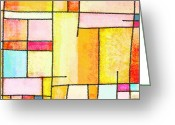 Scroll Pastels Greeting Cards - Abstract Town Greeting Card by Setsiri Silapasuwanchai