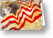 Usa Flag Greeting Cards - Abstract USA Flag Greeting Card by Stefano Senise