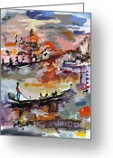 Ginette Fine Art Llc Ginette Callaway Greeting Cards - Abstract Venice Italy Gondolas Greeting Card by Ginette Fine Art LLC Ginette Callaway