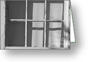 Gray Greeting Cards - Abstract Window in Light and Shadow Greeting Card by Dave Gordon