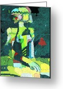 Woman Figure Greeting Cards - Abstract Woman Greeting Card by Mindy Newman