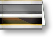 Tasteful Greeting Cards - Abstract Yellow and Grey  Greeting Card by Irina  March
