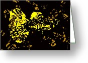 Tone Greeting Cards - Abstract Yellow fish  Greeting Card by Mario  Perez