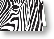 Black Greeting Cards - Abstract Zebra Head Greeting Card by Dave Gordon