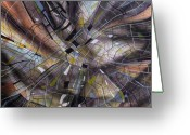 Geometrical Art Painting Greeting Cards - Abstraction Eleven Greeting Card by J Vincent Scarpace