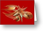 Star Points Greeting Cards - Abstracts on Red Series 5 Greeting Card by Linda Phelps