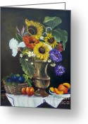 Apricot Painting Greeting Cards - Abundance Greeting Card by Carol Sweetwood